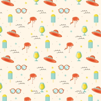 Summer pattern with sunglasses and hats
