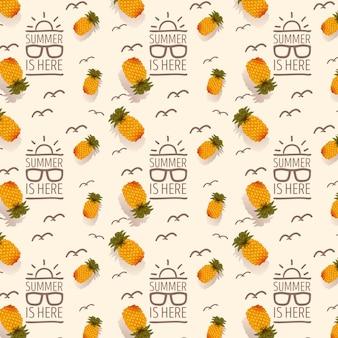 トロピカルフルーツと夏のパターン