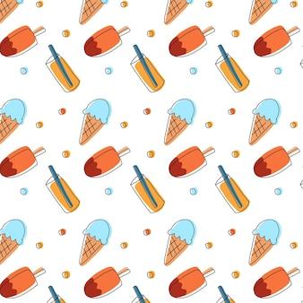 トロピカルアイスクリームとジュースの夏のパターン