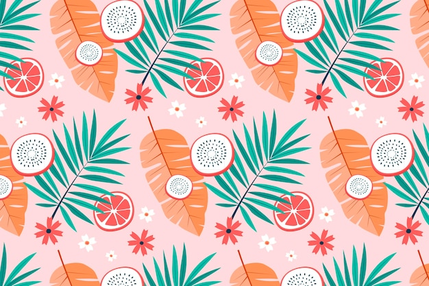 Summer pattern with tropical leaves and dragon fruit