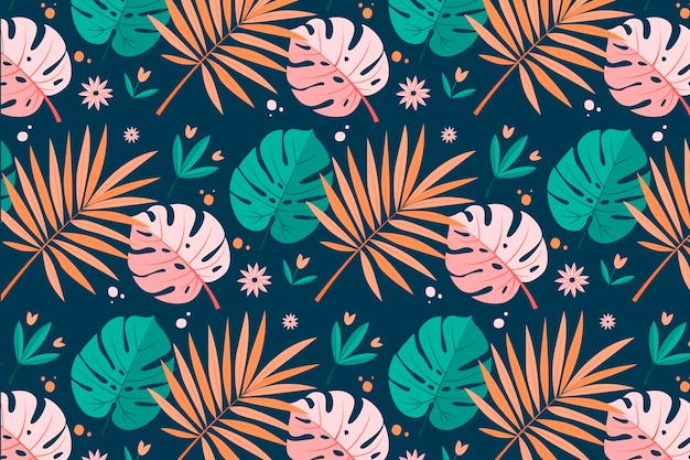 Summer pattern with tropical leaves