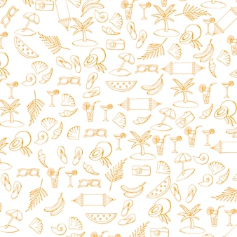 Summer pattern with vacation and travel icons