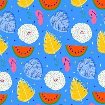 Summer pattern with watermelon and leaves