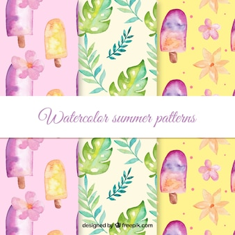 Summer patterns collection in watercolor style