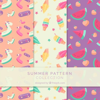 Summer patterns collection with beach elements