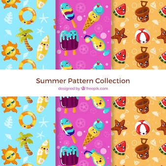 Summer patterns collection with cute elements
