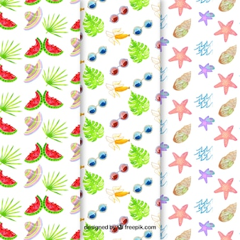 Summer patterns collection with elements in watercolor style