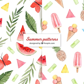 Summer patterns collection with food in watercolor style