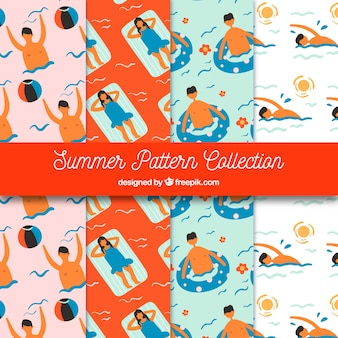 Summer patterns collection with people in the water