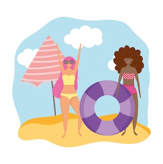 Summer people activities, girl with sunglasses and woman with float, seashore relaxing and performing leisure outdoor