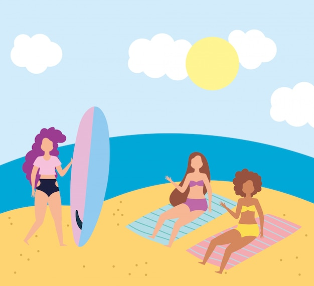 Summer people activities, girls resting in the towels and woman with surfboard, seashore relaxing and performing leisure outdoor