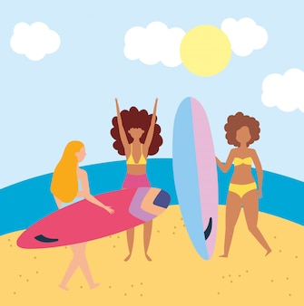 Summer people activities, group women with surfboard in the beach, seashore relaxing and performing leisure outdoor