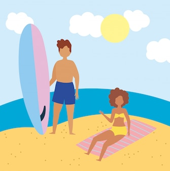 Summer people activities, woman and man with surfboard in the beach, seashore relaxing and performing leisure outdoor