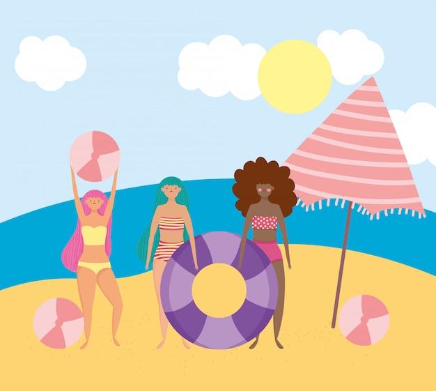 여름 사람들 활동, 공놀이와 부유물을 즐기는 여성, 해변 휴식과 레저 야외 공연