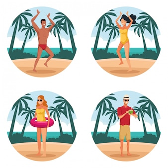 Summer people and beach round shape