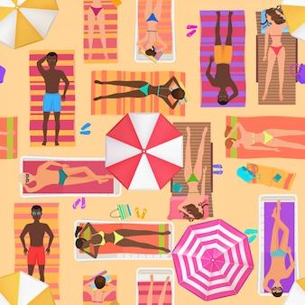 Summer people beach seamless pattern