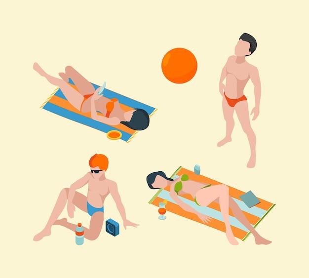 Изометрические летние люди. мужские и женские персонажи каникул в коллекции лиц летней одежды.
