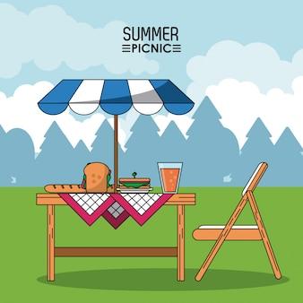 夏のピクニックと食べ物とサンシェード付きのテーブル