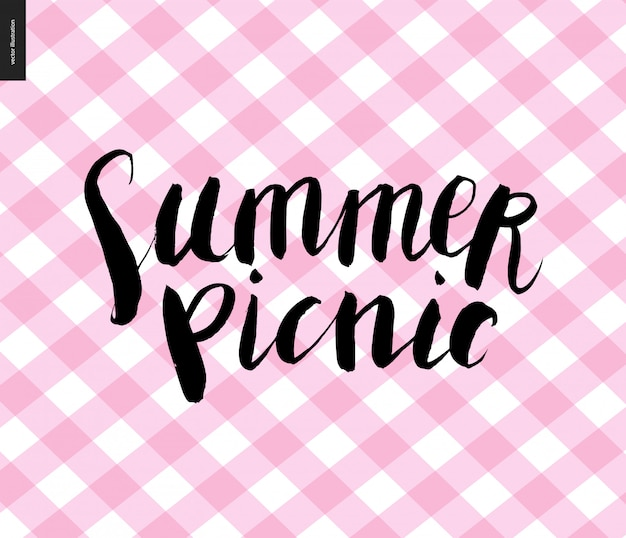 Summer picnic calligraphy