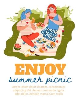 야외에서 음식을 즐기는 여성과 여름 피크닉 카드 평면 그림.