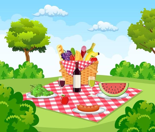 バスケット付き夏のピクニックコンセプト、