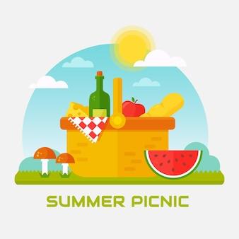 Летний пикник на природе. корзина с вином, арбузом и клетчатым одеялом. плоский баннер.