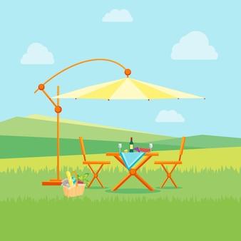 Летний пикник в природе плоский. стол, стулья и зонтик. отдых на свежем воздухе.
