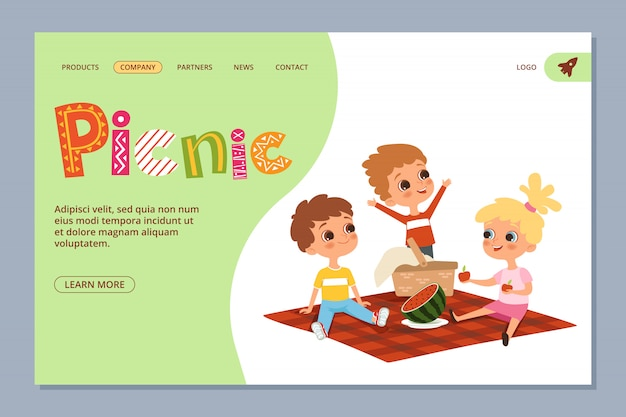 Summer picnic landing page. kids characters