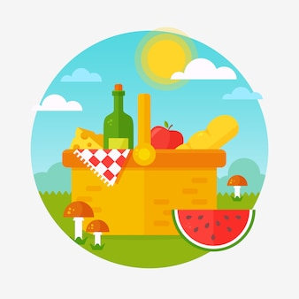 Summer picnic in nature on flat design
