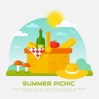Summer picnic in nature. illustration with flat basket.