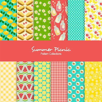 Summer picnic patterns set