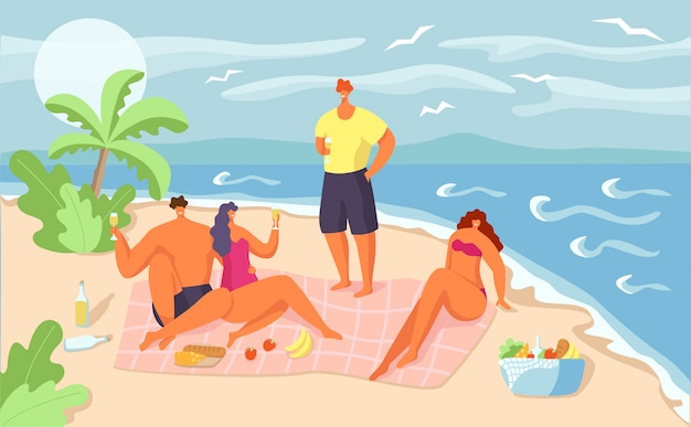 Summer picnic for  people,  illustration.  happy man woman at beach vacation, family character at sea together. outdoor holiday at ocean nature, fun leisure at sand.