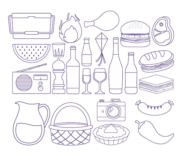 Summer picnic related icons over white background, vector illustration