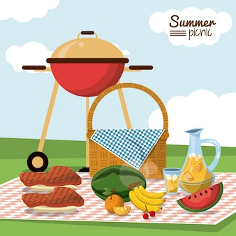 Summer picnic with basket in tablecloth with charcoal grill