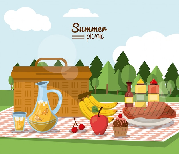 Summer picnic with landscape and picnic basket in tablecloth
