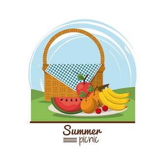 Summer picnic with picnic basket and dish with fruits