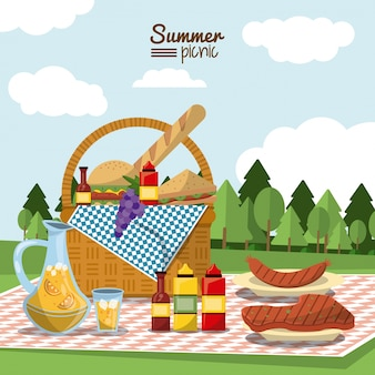 Summer picnic with picnic basket full of food in tablecloth