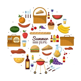 Summer picnic with set of utilities and food