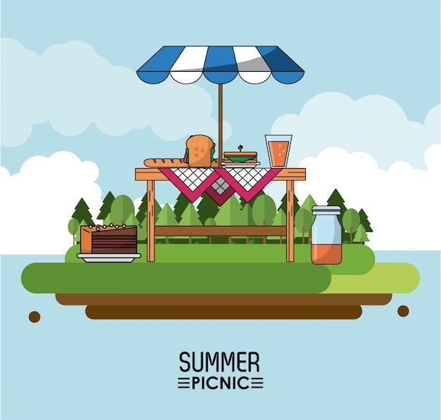 サンシャインと食べ物のあるテーブルがある夏のピクニック
