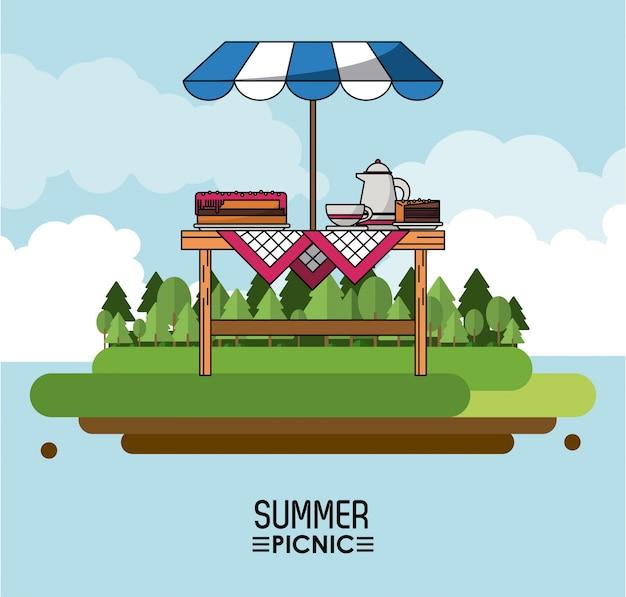 サンシャインのあるテーブルとコーヒージャーのパイのある夏のピクニック