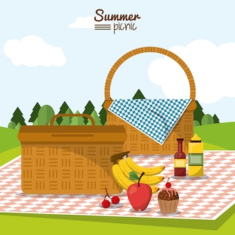 Summer picnic with two picnic baskets in tablecloth