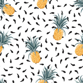 Summer pineapple on black hand brushed strokes seamless pattern