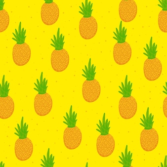 Summer pineapple seamless pattern doodle