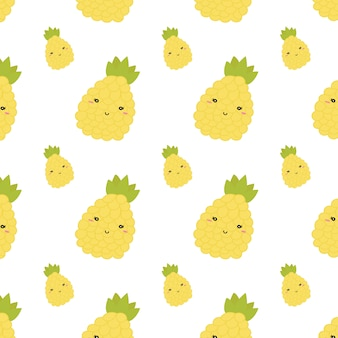 Summer pineapple seamless pattern. vector