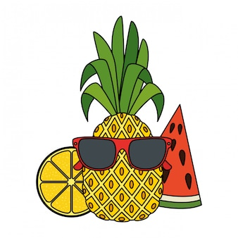 Summer pineapple with sunglasses character and fruits