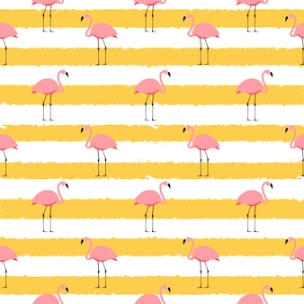 Summer pink flamingo seamless pattern background.  illustration