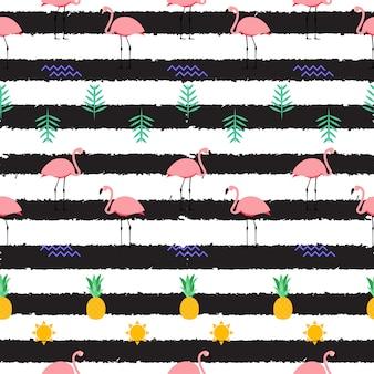 여름 핑크 플라밍고 원활한 패턴 배경입니다. 삽화