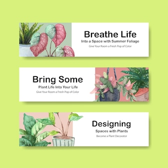 Summer plants banner template design brochure, leaflet, advertise and booklet watercolor illustration
