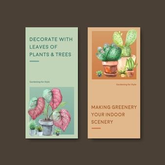 Summer plants flyer template design for leaflet, booklet, advertise watercolor illustration