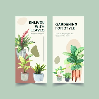 Summer plants flyer template design for leaflet, booklet, advertise watercolor illustration